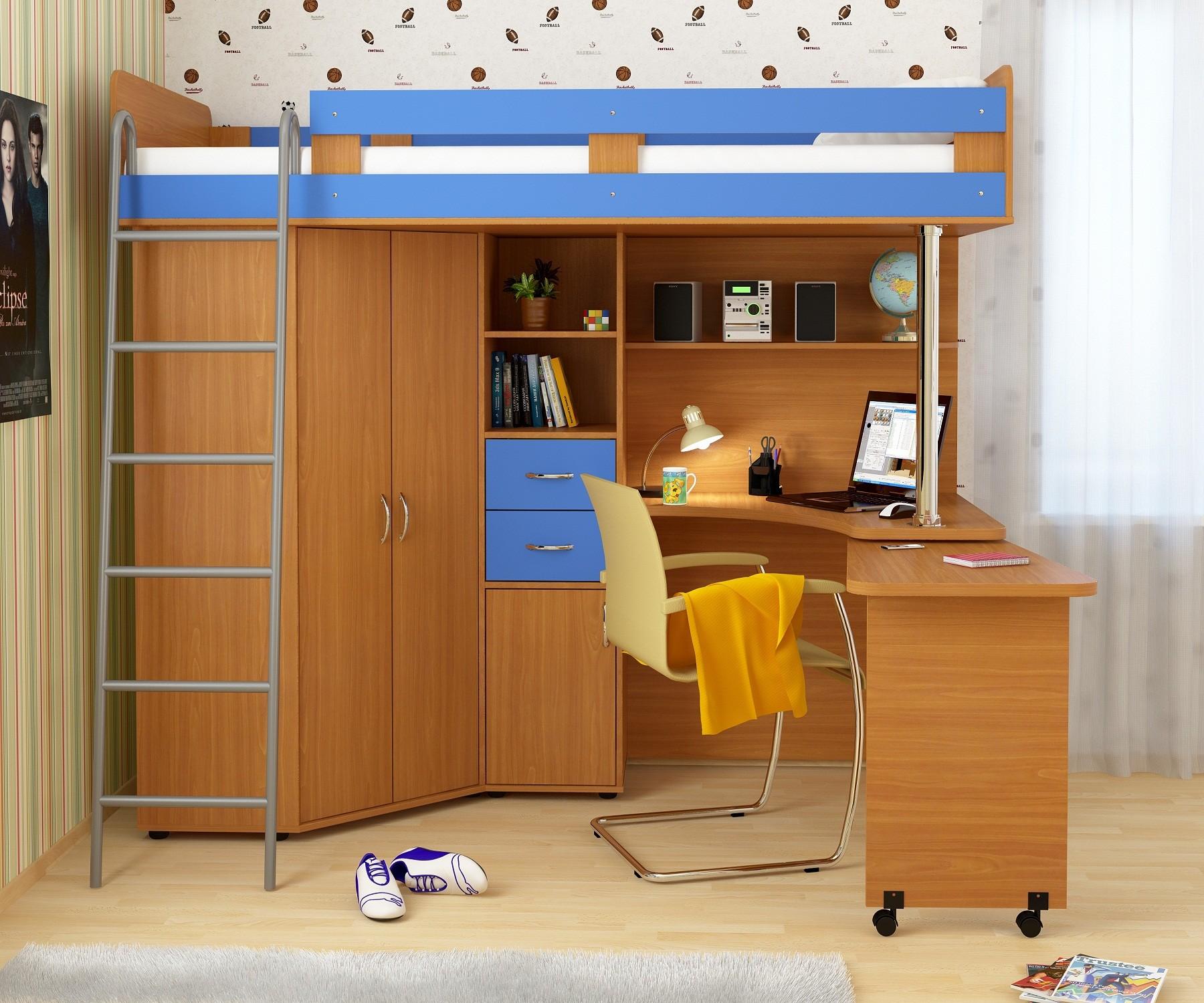 Как выбрать двухъярусную кровать со столом: виды моделей, со.